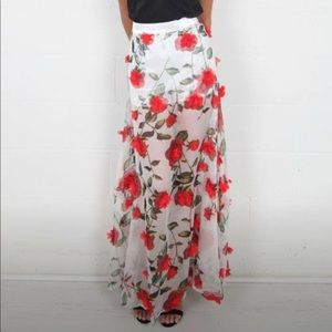Dresses & Skirts - Red floral skirt